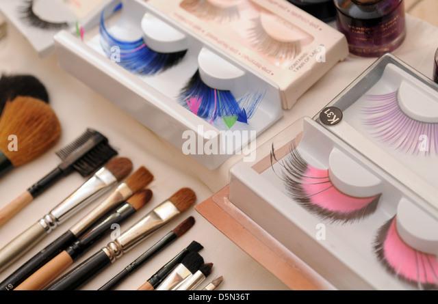 false eyelash and brush makeup - Stock Image