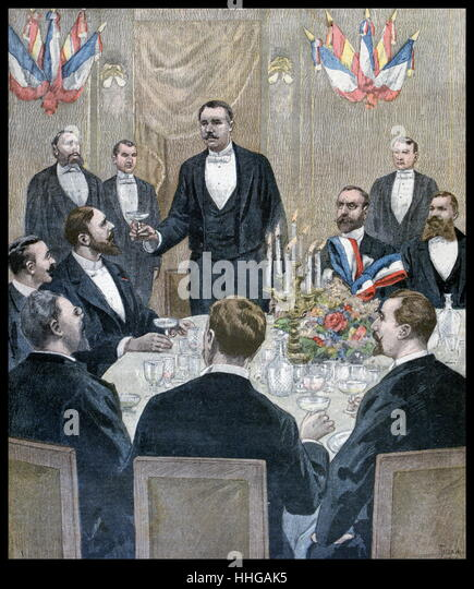 Banquet at San Sebastian. Nationalist Paris city councillors celebrating their victory in municipal elections 1900. - Stock Image