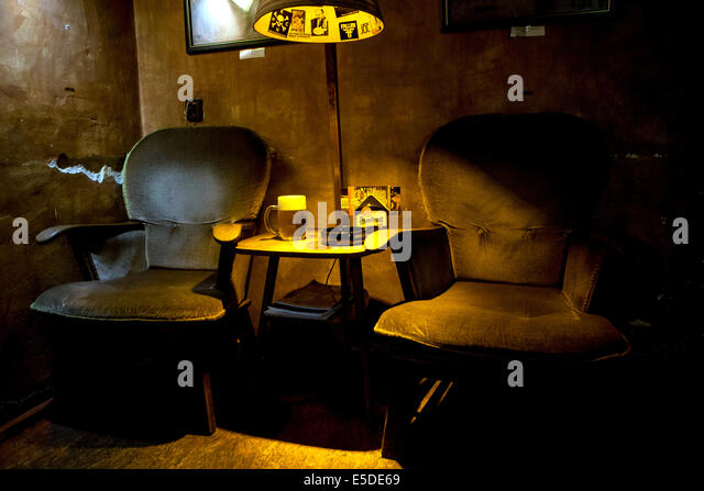 bar Znama firma, atmosphere with lamp and beer, Zizkov, Prague, Czech Republic - Stock Image