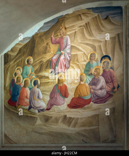 Sermon on the Mount, by Fra Beato Angelico, 1437-1445, Convent of San Marco, Florence, Tuscany, Italy, Europe - Stock Image
