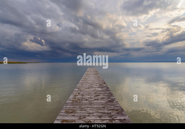 Wooden Jetty at Weiden, Lake Neusiedl, Burgenland, Austria - Stock Image