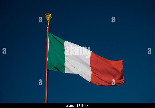 Italian flag and blue sky, St Mark's Square, Venice, Italy - Stock Image