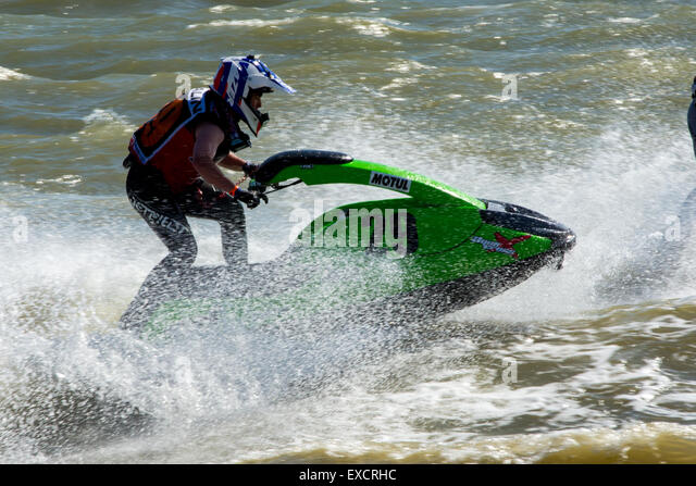 Hampshire, UK. 11th July, 2015. Jetski Riders in AquaX Race 2  of the P1 Aquax on 11/07/2015 at Stokes Bay, Gosport, - Stock-Bilder