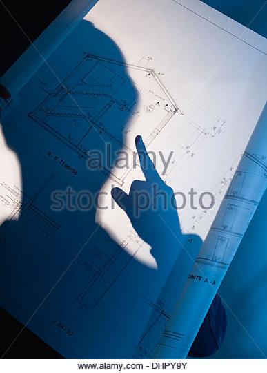 construction site architect blueprint engineer - Stock-Bilder