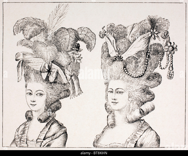 18th century French girls wearing extravagant hair styles and hats. - Stock-Bilder