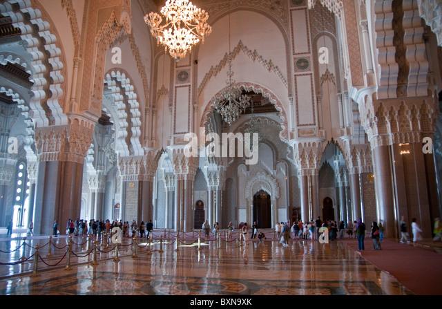 Hassan II Mosque's interior in Casablanca, Morocco - Stock Image