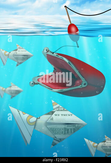 Creative business concept, catching money fish with wallet - Stock-Bilder