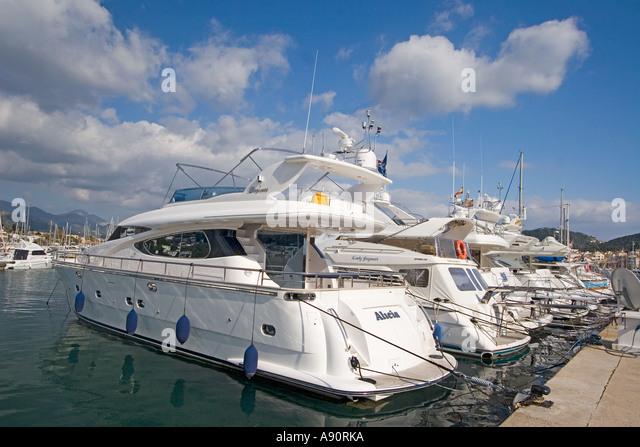 Mallorca Poirt d Andratx Marina luxery yachts - Stock Image