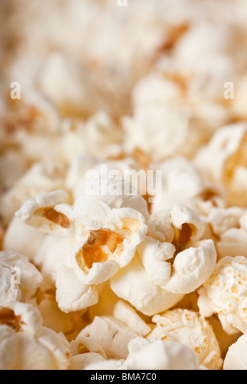 Close-up of fresh popcorn - selective focus - Stock Image
