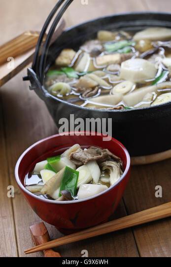 imoni, japanese hotpot cooking, taro potato and beef - Stock Image