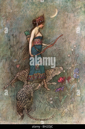 Zenobia, by Warwick Goble, from The Complete Poetical Works of Geoffrey Chaucer, 1912. - Stock Image