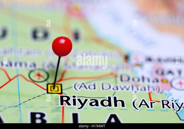 Riyadh pinned on a map of Saudi Arabia - Stock Image
