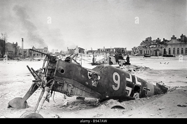 A downed Nazi plane in Yukhnov The Kalinin region - Stock Image