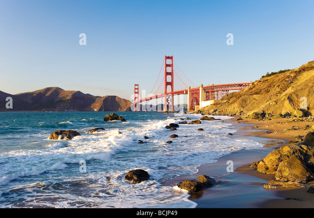 USA, California, San Francisco, Baker's Beach, Golden Gate Bridge - Stock-Bilder