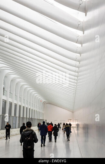 New York City NY NYC Manhattan Lower Financial District World Trade Center center pedestrian tunnel PATH Train Station - Stock Image