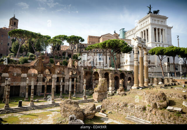 Palatine ruins at Forum Romanum, Rome, Lazio, Italy, Europe - Stock Image