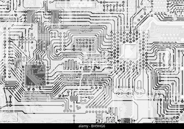Circuit board industrial electronic monochrome graphical background - Stock Image