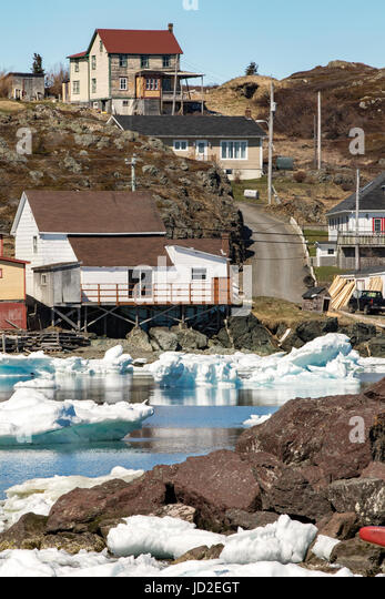 Views of the town of Twillingate from Twillingate Harbour - Newfoundland, Canada - Stock Image