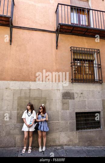 Spain Europe Spanish Hispanic Toledo Asian woman friends - Stock Image
