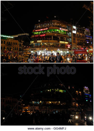A combination photo shows the 'Ham Ca Map' building before (top) and during Earth Hour in Hanoi March 31, - Stock Image