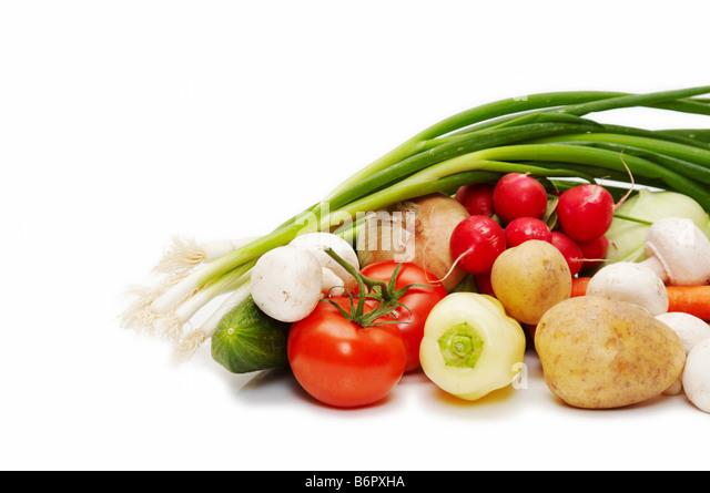 fresh vegetables isolated on white background - Stock Image