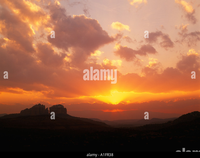Sunset clouds over Sedona Arizona - Stock Image