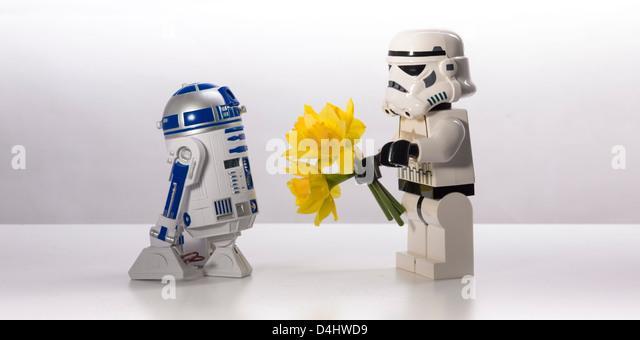 Star Wars, an untold love story. R2-D2 and a Stormtrooper - Stock-Bilder