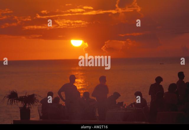 Jamaica Negril Sunset rick's Ricks Cafe - Stock Image