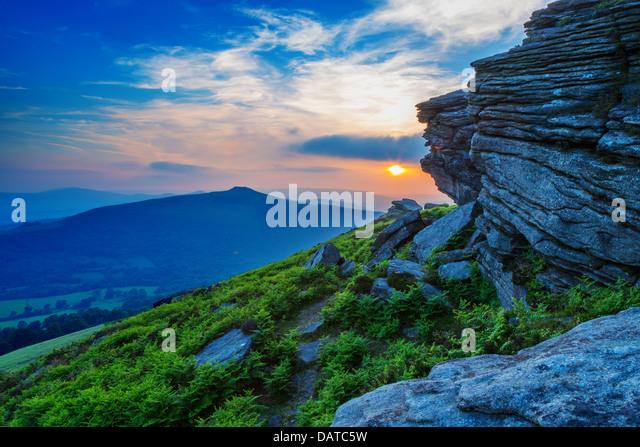 Sunset from Bamford Edge, Peak District - Stock Image