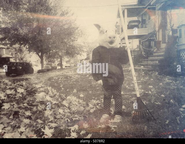 Creepy girl in pig mask with rake. - Stock Image