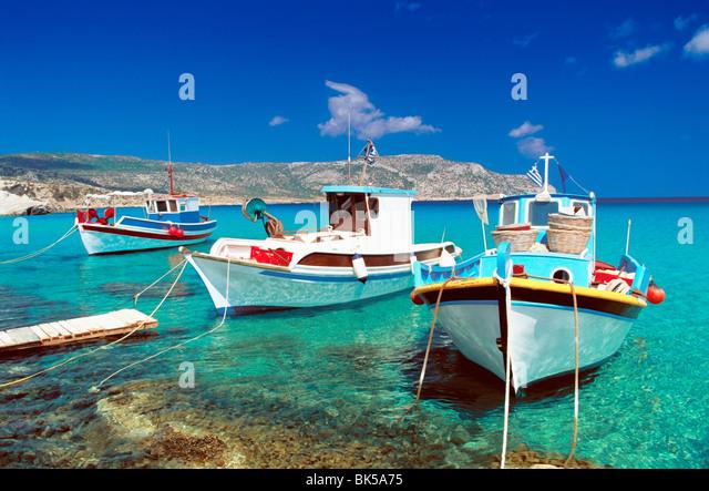Fishing boats at Anopi Beach, Karpathos, Dodecanese, Greek Islands, Greece, Europe - Stock Image