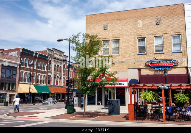Illinois Decatur South Main Street downtown buildings - Stock Image