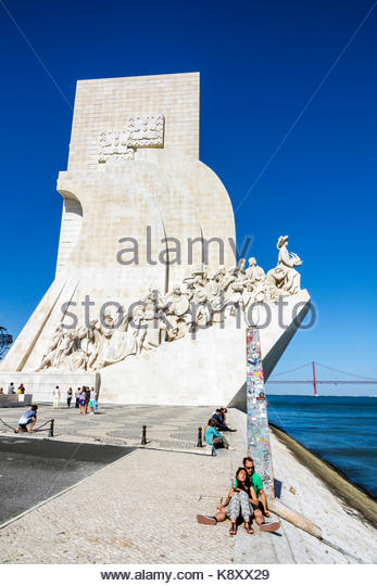 Portugal Lisbon Belem Tagus River Padrao dos Descobrimentos Monument of the Discoveries Henry the Navigator waterfront - Stock Image