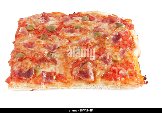 sliced pizza with mozzarella, tomatoes, olives and jam - Stock Image