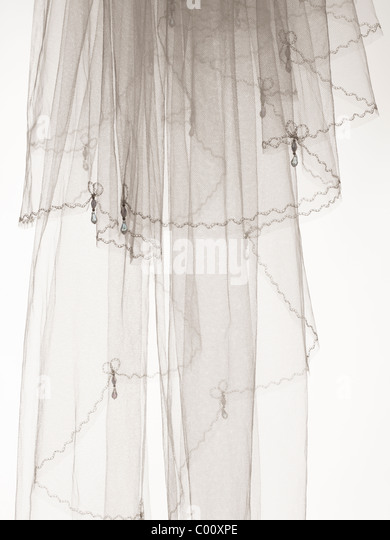 wedding veil photographed in the studio - Stock Image