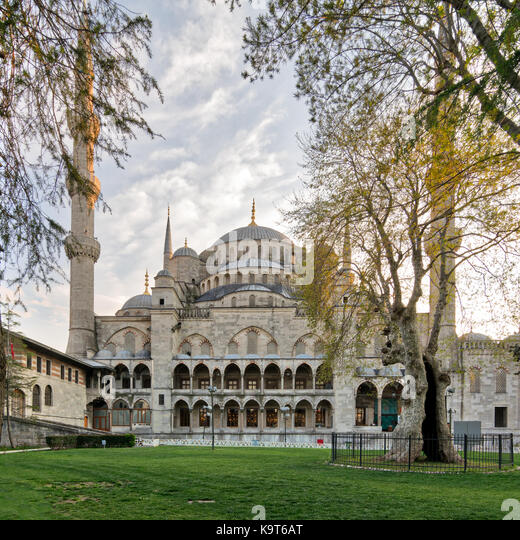 Exterior day shot of Sultan Ahmed Mosque (Blue Mosque), an Ottoman imperial mosque located in Sultan Ahmed Square, - Stock Image