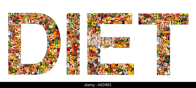 FOODFONT WORD ON BLACK AND WHITE DIET - Stock Image