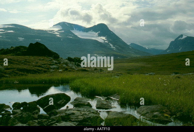 Mount Skårvetjåkkå seen over the Rapadalen valley, Sarek National Park, Lappland, Norrbottens Län, - Stock Image