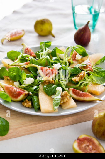 Fig,Melon and walnut salad - Stock Image
