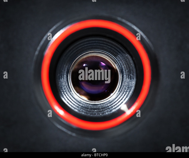 Lens of old simple film camera. - Stock Image