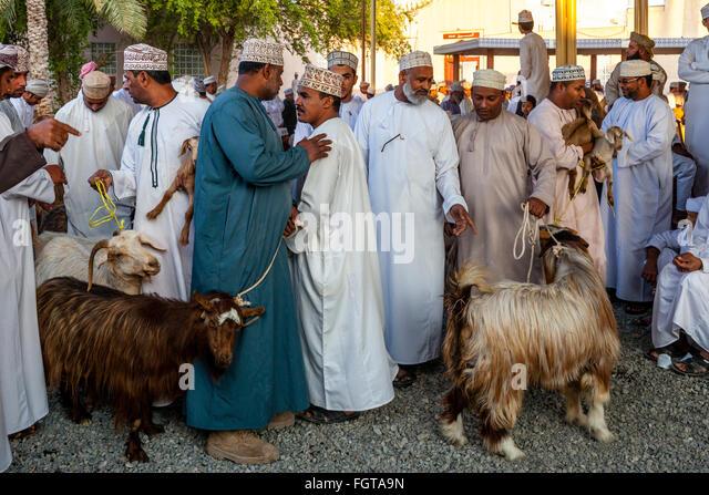 The Friday Livestock Market, Nizwa, Ad Dakhiliyah Region, Oman - Stock Image