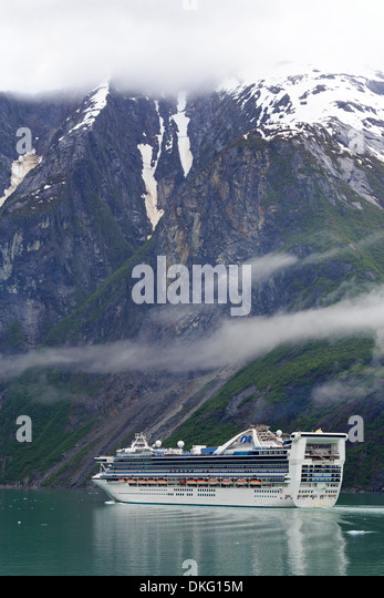 Cruise ship in Tracy Arm Fjord, Alaska, United States of America, North America - Stock Image