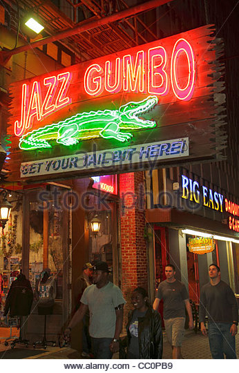 New Orleans Louisiana Canal Street downtown Jazz Gumbo alligator Big Easy Daiquiries & Cafe bar restaurant exterior - Stock Image
