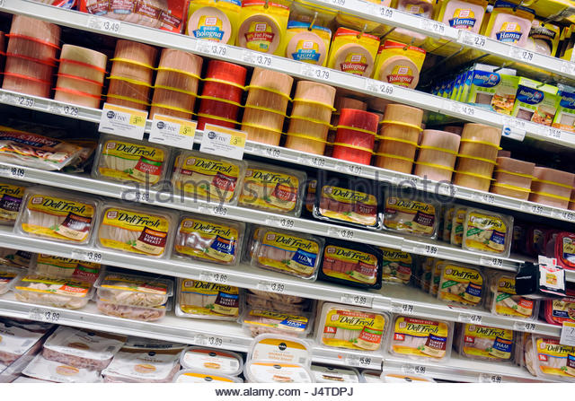 Miami Beach Florida Publix Grocery Store company supermarket shopping shelf product display packaging food groceries - Stock Image