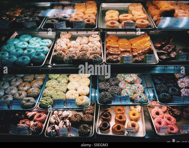 Donut Shop Window Display - Stock Image