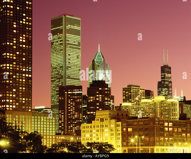 USA  ILLINOIS  CHICAGO  AMOCO BUILDING  TWO PRUDENTIAL PLAZA  SEARS TOWER - Stock Image