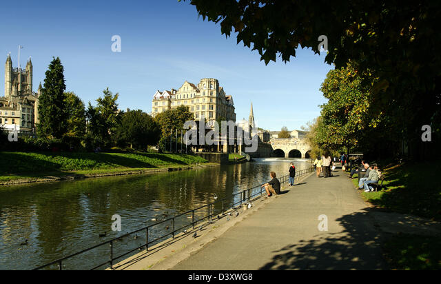 River Avon near Pulteney Bridge, Bath, England - Stock Image