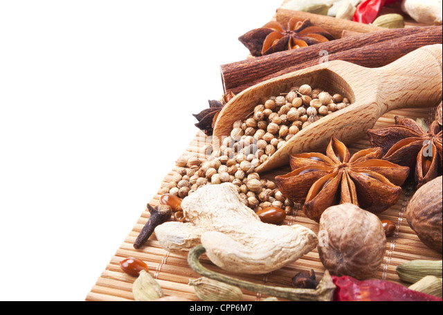 Right side background with spices and herbs - Stock Image