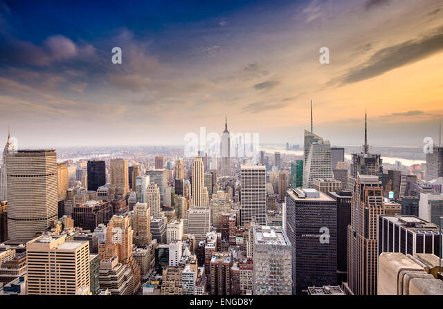 New York City, USA famous skyline over Manhattan. - Stock Image