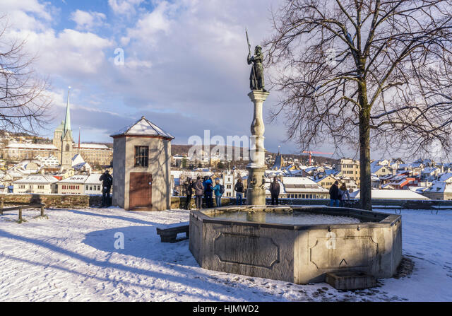 Lindenhof ,winter, snow, Zurich, Zuerich, Switzerland - Stock Image